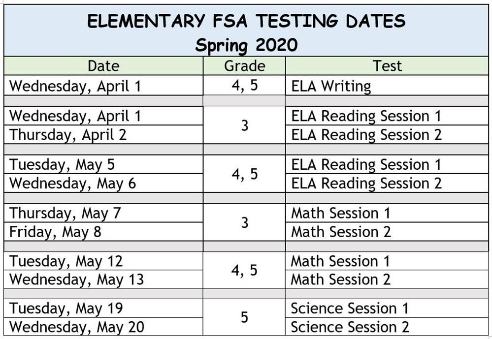 Here is the 2019-2020 FSA testing schedule for Atwater.