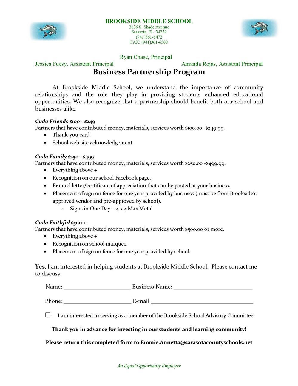 Brookside Business Partnership Program