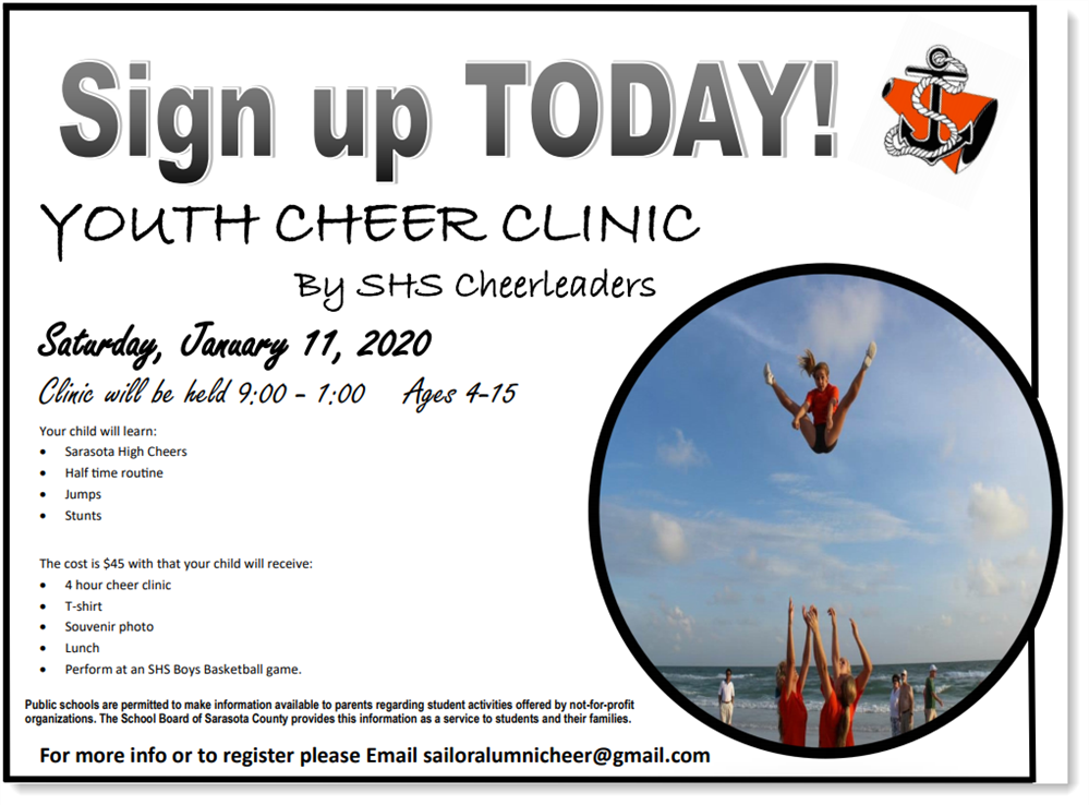 Cheer Clinic January 11, 9:00-1:00, Ages 4-15
