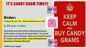 Candy Grams on Sale Friday February 7th through Wednesday February 12th