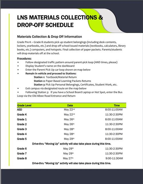 LNS Materials Collections & Drop-Off Schedule