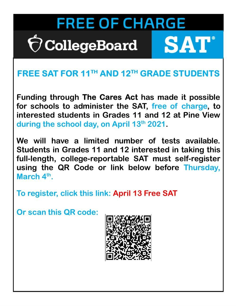 Free April 13 SAT Exam for Grades 11 and 12