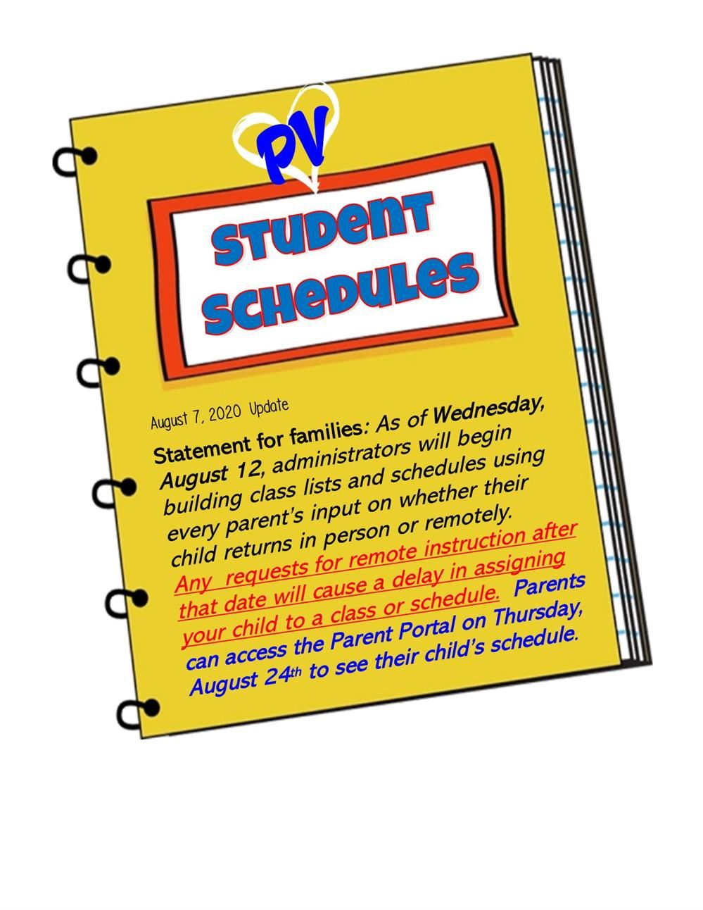 Student Schedules Update August 6
