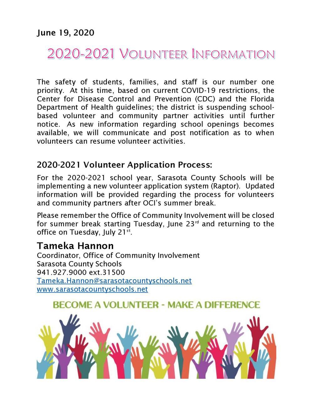 2020-2021 Volunteer Information
