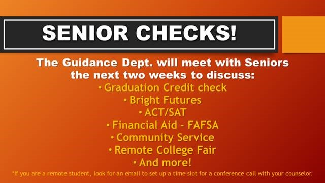 Graduation Checks with Seniors!