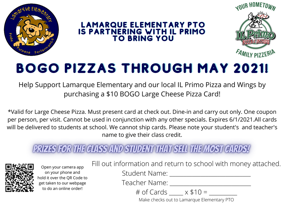 LAMARQUE PTO IS PARTNERING WITH IL PRIMO FOR A BOGO PIZZA FUNDRAISER