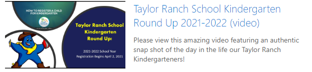 2020-21 Kindergarten Roundup (When registering, please remember to register for the 2020-21 school year.)
