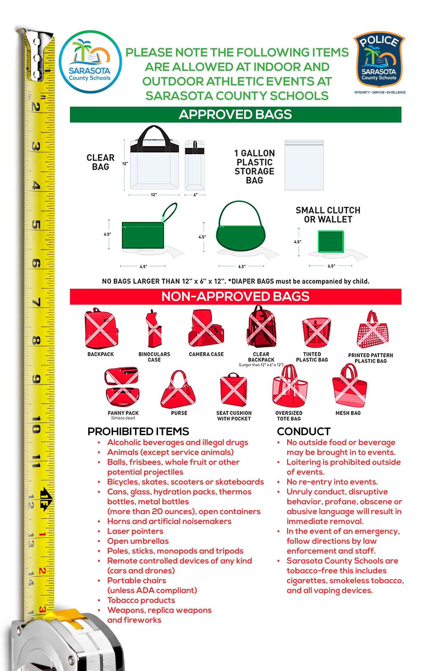 Diagram of approved & banned items at sporting events