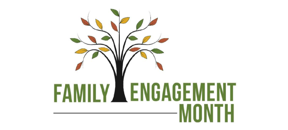 A cartoon tree with big branches and leaves, text that says Family Engagement Month