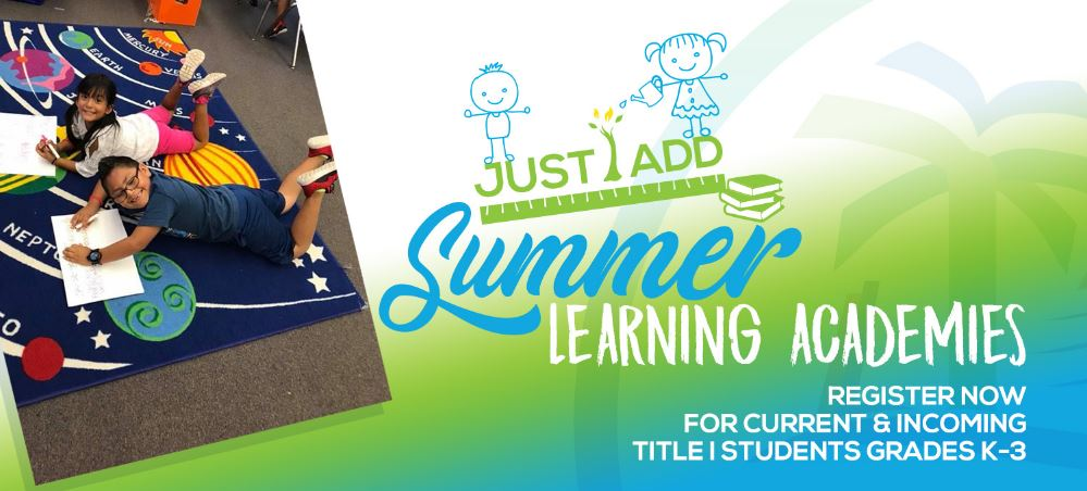 Artwork for Sarasota County Schools' summer programming; child reading, kids watering a garden