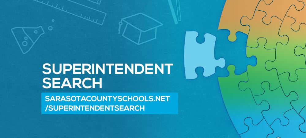 Superintendent Search graphic, text and puzzle pieces