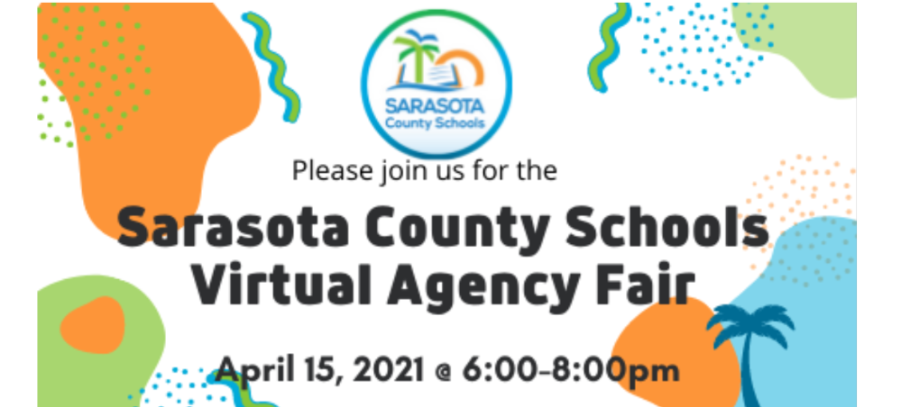 Festive-looking image in school district colors; text saying SCS Virtual Agency Fair April 15
