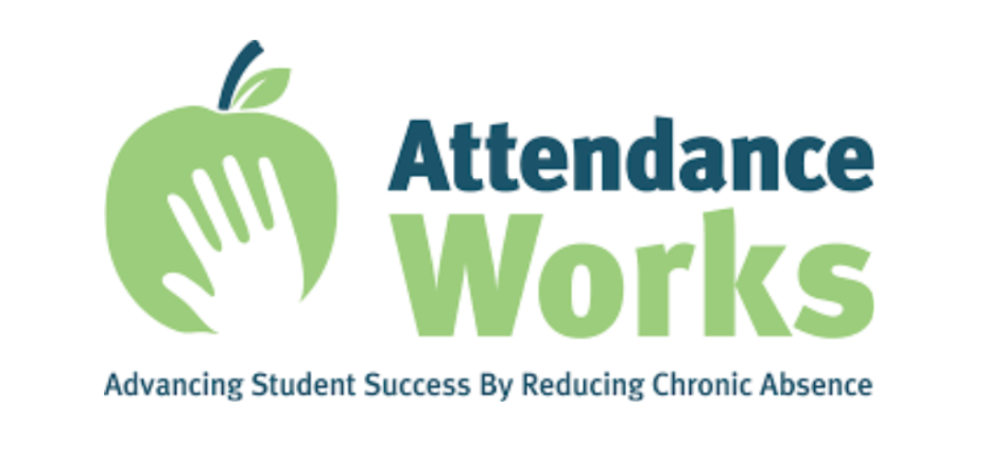Attendance Works logo, hand holding an apple