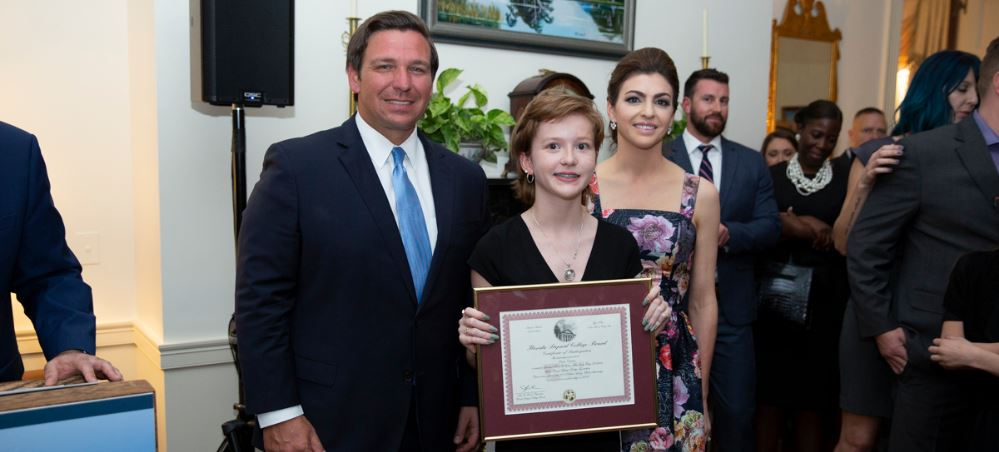 Left to right: Governor Ron DeSantis, Claire Critchett and First Lady Casey DeSantis