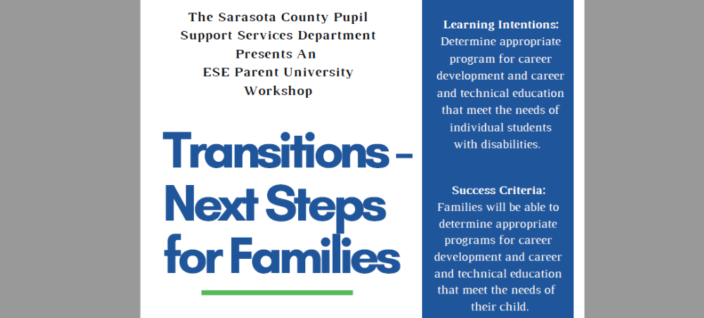 Text indicating the name of the Parent University (Transitions – Next Steps for Families)