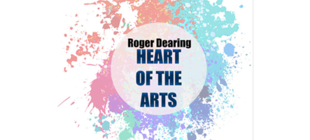 Heart of the Arts text with artistic background colors (like paint drops)