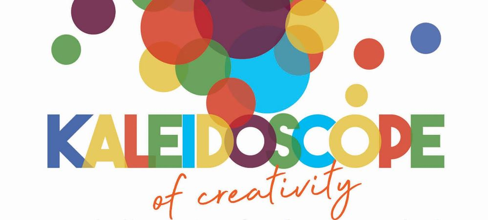 Kaleidoscope of Creativity wording surround by multi-colored dots