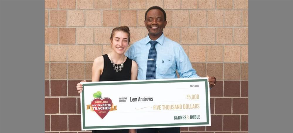 "Barnes & Noble Names Lem Andrews National Winner of the 2018 ""My Favorite Teacher Contest"" and ""Teacher of the Year"""
