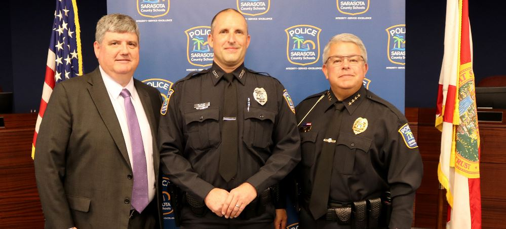L to R: Superintendent Todd Bowden, School Resource Officer Mark Adams, Chief of Police Tim Enos