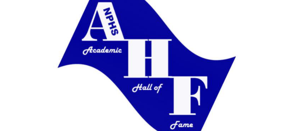 North Port High School's Academic Hall of Fame logo (blue ribbon with white text)