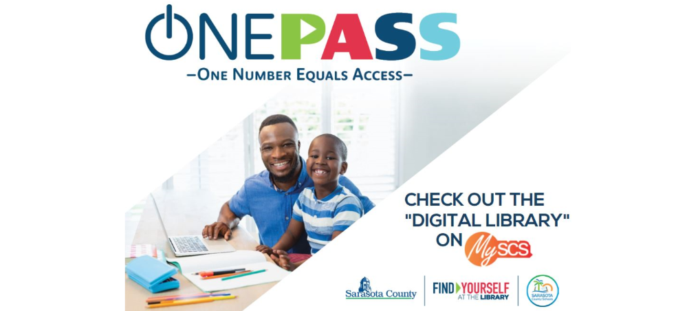 Photo of a father and son, smiling in front of a computer and a stack of books. ONEPass logo