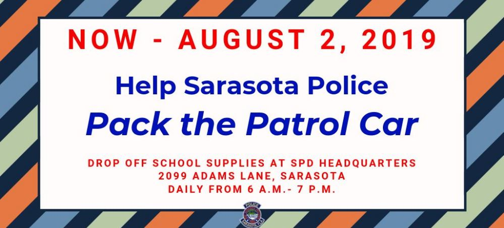 Graphic advertising Pack the Patrol Car July 8 to August 2