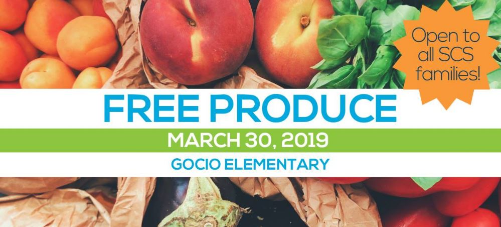 Produce drive at Gocio Elementary on March 30, 2019 from 9 AM to noon