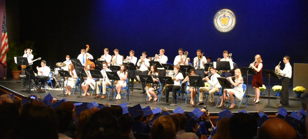 Students on stage during 2018 Pine View School graduation