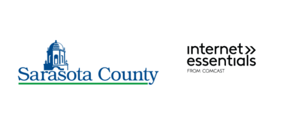 Sarasota County Government logo (text and courthouse) and Comcast Internet Essentials text logo