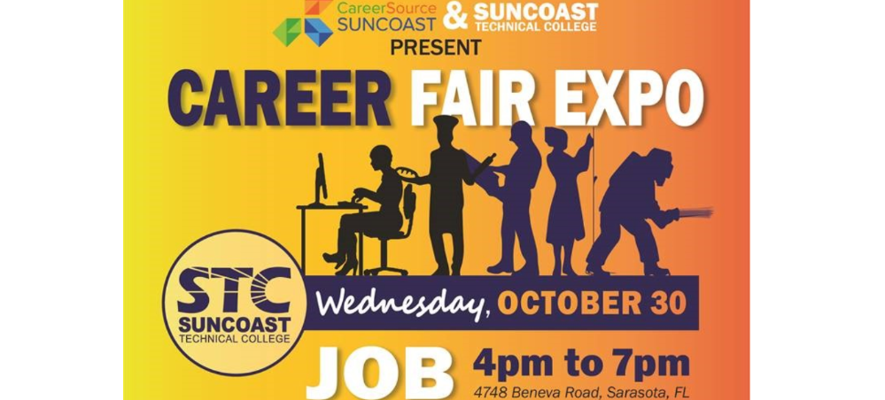 Career Fair Expo on October 30 at Suncoast Technical College from 4-7 PM